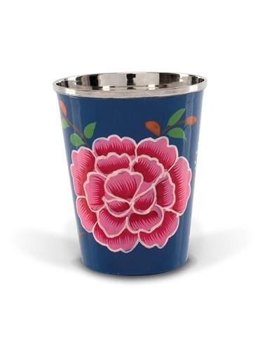 Çiçekli Mavi Mini Bardak-3rd Culture